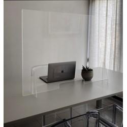 Divisorio antibatterico da appoggio in plexiglass trasparente con asola centrale 120cmx70cmx5mm