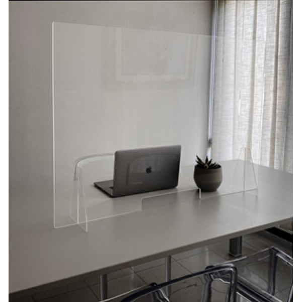 Divisorio antibatterico da appoggio in plexiglass trasparente con asola centrale.  60cm x 70cm x  5mm